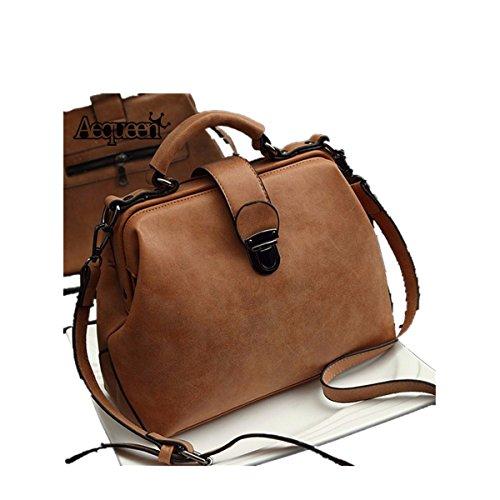 OURBAG Hot Retro Doctor Bag Fashion Trend Diagonal Portable Shoulder Bag Brown Medium