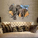 EMIRACLEZE Christmas Gift Africa 3d Style Elephant Vivid Removable Mural Wall Stickers Wall