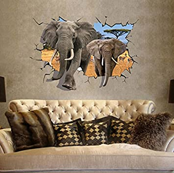 EMIRACLEZE Christmas Gift Africa 3d Style Elephant Vivid Removable Mural Wall  Stickers Wall Decal For Children Part 32