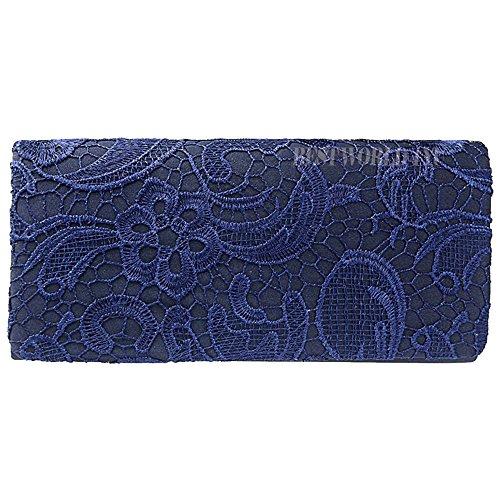Lace Sides Clutch Womens Designer Satin blue Prom New Both Wocharm Bag Navy Ladies Wedding Bridal Handbag gnqFS