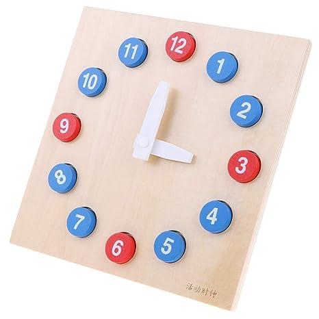 Sharplace Juguete Montessori de Madera Reloj de Números Digitales Juego para Aprendizaje de Tiempo de Niños
