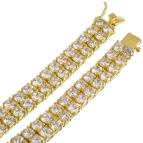 Men's 2-Row 14k Gold Plated Iced Out CZ Hip Hop Chain Necklace, 30'' + Microfiber Jewelry Polishing Cloth by The Bling Factory