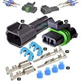 DerBlue 12 Sets 4 Pin Way Car Waterproof Electrical Connector Plug with Wire AWG Marine