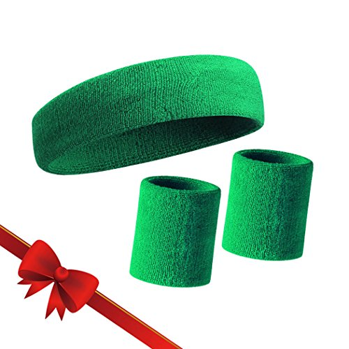 HOTER Thick Solid Color Sweatband Set - Green (1 Headband + 2 (Staff Travel Cover)