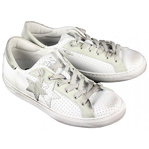 2 Star Scarpe Uomo MOD. Sneaker Low Bianco-Ghiaccio Art.2SU1821