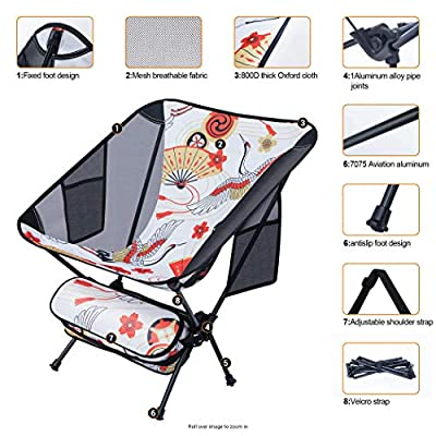 Nice C Ultralight Portable Folding Camping Backpacking Chair Compact & Heavy Duty Outdoor, Camping, BBQ, Beach, Travel, Picnic, Festival with 2 Storage Bags&Carry Bag (2 Pack of Crane) : Sports & Outdoors