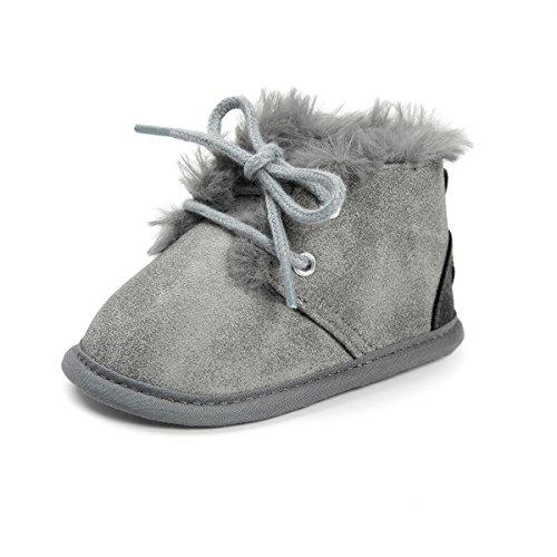 Meckior Winter Newborn Unisex Baby Girls Boys Velvet Rubber Sole Anit-Slip Shoes Prewalker Boots (0-6 Months Infant, C-Gray)