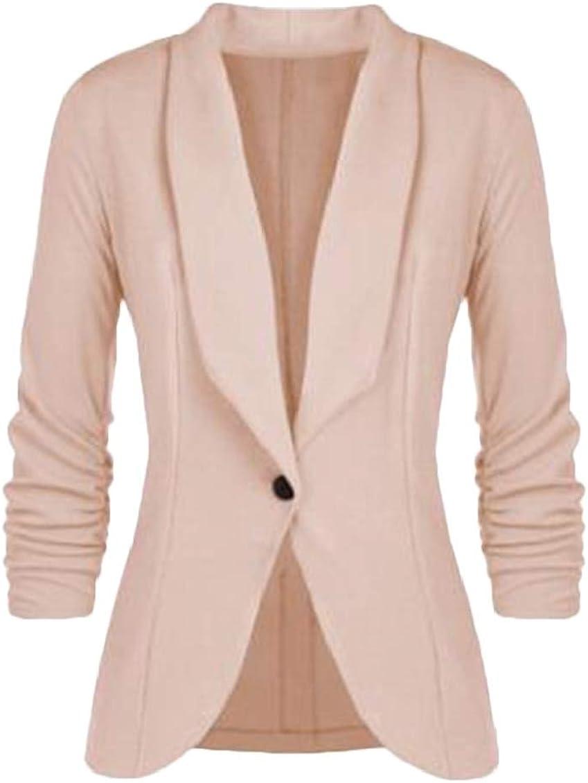 Spirio Women 3//4 Sleeve Solid 1 Button Lapel Blazer