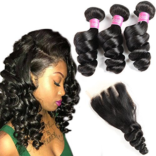 8A Brazilian Loose Wave Virgin Hair 3 Bundles with Closure 100% Unprocessed Human Hair Weave Bundles Loose Curly with 4X4 Lace Closure Pieces Top Extensions (20