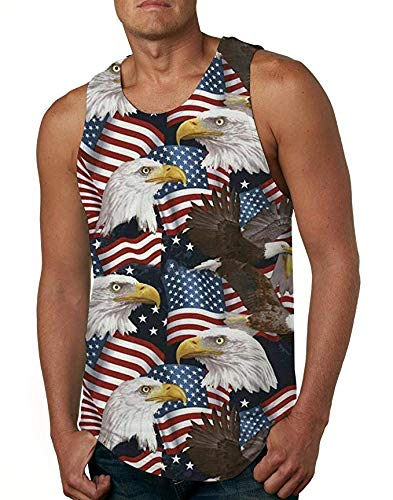 Men's Print American USA Flag Sleeveless Vest Tank Tops Casual Gym Sport T Shirt Vest X-Large