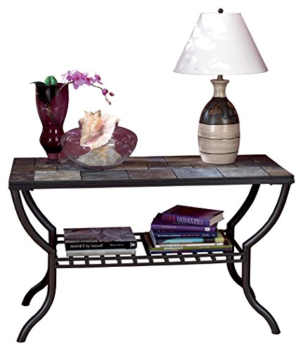Ashley Furniture Signature Design - Antigo Sofa Table with Console - Slated Top with Metal Bottom - Contemporary - Black (Console Outdoor)
