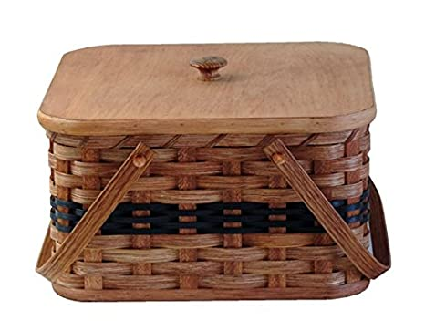 AMISH BASKETS AND BEYOND Amish Handmade Square Double Pie Basket w/Inside Tray, Lid, and Two Swinging Carrier Handles (Blue w/o Liner, Regular) PIE-SQUARE-BLUE