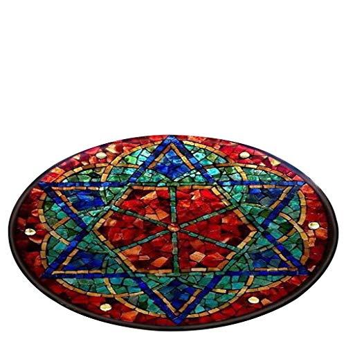 Awesomecar Notre Dame Glass Window Elements Blanket Round Bathroom Carpet 80cm