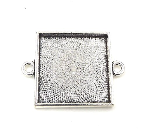 (20 Deannassupplyshop Square Connector Pendant Trays - Antique Silver Color - 1 inch - Pendant Blanks Cameo Bezel Settings Photo Jewelry - Custom Jewelry Making)