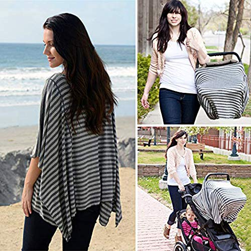Fashionable Nursing Covers by DRIA - 'The All-In-One, Stroller Cover, Car Seat Cover' - Made in USA from Premium Four Way Stretch and Breathable Modal Fabric (Oslo Style: Grey Stripe)