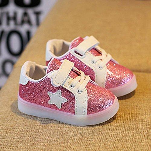Hunpta Baby Mode Stern Turnschuh LED leuchtendes Kind Kleinkind beiläufige bunte helle Schuhe Rosa