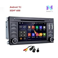 MCWAUTO for Porsche Cayenne 7 inch 2 Din Android 7.1 Quad Core Car Stereo 1024 HD Touchscreen Car Radio Receiver DVD GPS Navigation Free Mic+Map+ Rear View Camera