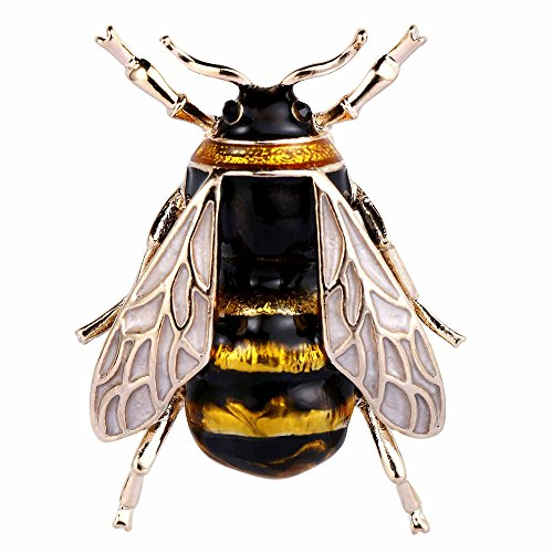 EVER FAITH Austrian Crystal Yellow Enamel Lovely Cicada Insect Animal Brooch Pin Black Gold-Tone Black Yellow Brooch