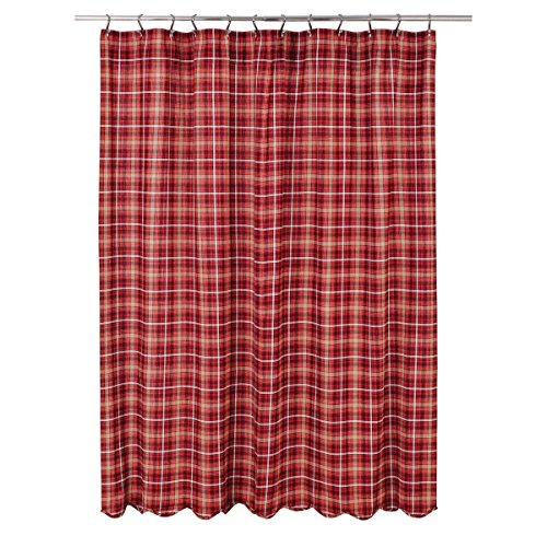 VHC Brands Braxton Shower Curtain (Shower Red Plaid Curtain)