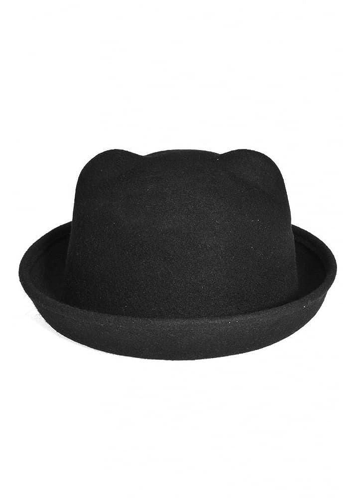 Cat Ear Cute Kitty Ears Women's Bowler Hat Black Black attitudeclothing