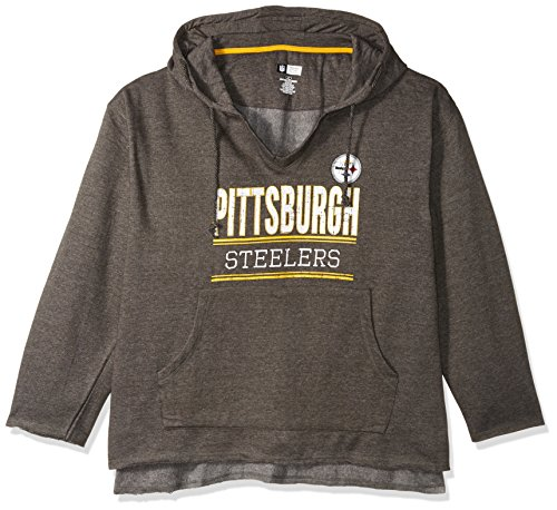 NFL Pittsburgh Steelers V Notched Pullover Hood with Ragged Edge, 4X, Charcoal/Heather from SteelerMania