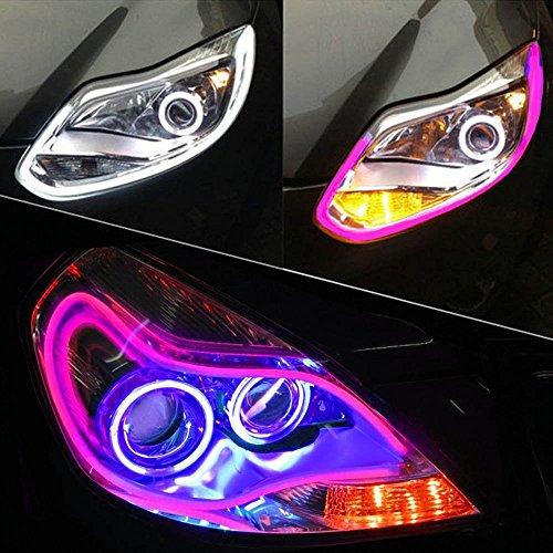 LEONLITE 35inch/90cm Automobile LED Neon Strip Light, Illuminating Headlight, Flexible Daytime Running & Contouring Tube Light OEM-Looking Audi/BMW/Mercedes Style Headlight (PINK) Audi Style Led Strip