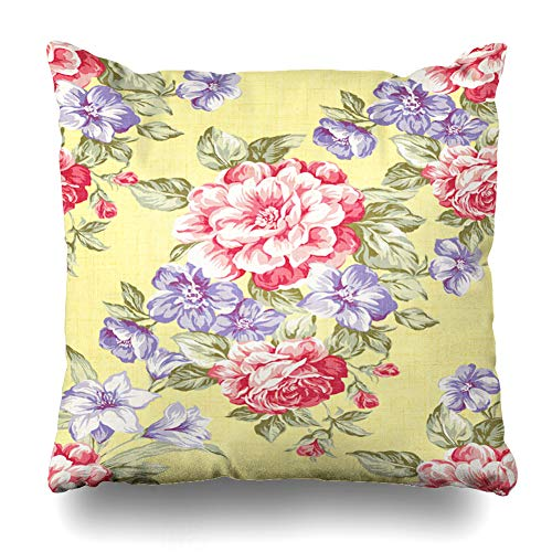 - Ahawoso Decorative Throw Pillow Cover Magnificence Brown Vintage Rose Pattern Floral Nature Nosegay Pink Flower Retro Abstract Design Gold Home Decor Pillowcase Square Size 16