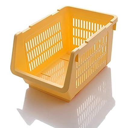 Hogar cocina de plástico cesta de frutas y verduras de alimentos contenedor de almacenamiento organizador apilable