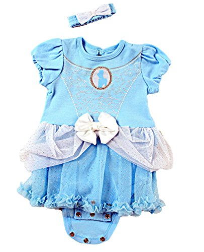 [Disney Princess Cinderella Baby Girl One Piece Bodysuit Dress up Outfit Costume] (Cinderella Costumes For Girl)