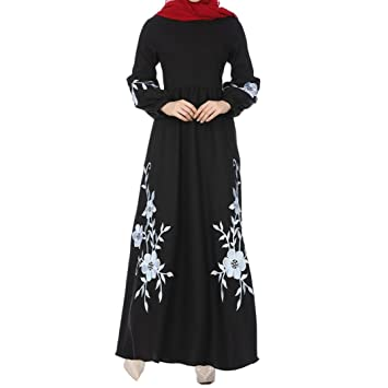 af27e32b58 Muslim Evening Dresses for Women Plus Size,Women Dress of Long Sleeves Pure  Color Chiffon