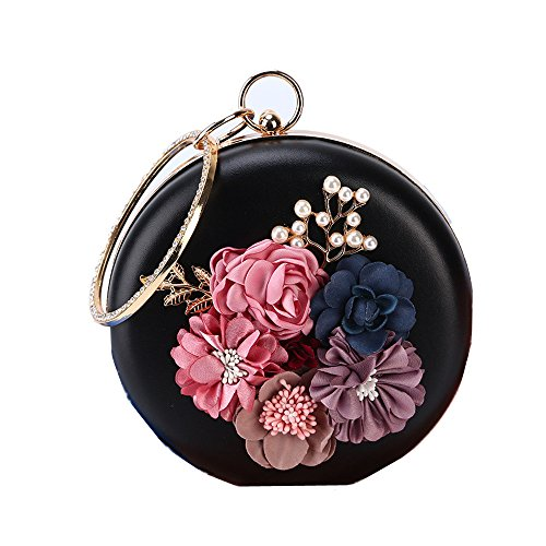 Wedding Women Rabbit Evening Party Capacity Color Black Lovely Circular Vintage White Bags Purse Wallet Clutch Handbags Flower Large 5P1F1Wq