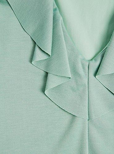 oodji Ultra Mujer Vestido de Punto con Escote Pronunciado en la Espalda Verde (6500N)