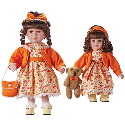 Women's Sisters Collectible Porcelain Dolls with Floral Dresses, Organge Sweaters, Older and Younger Sister, 2 pc