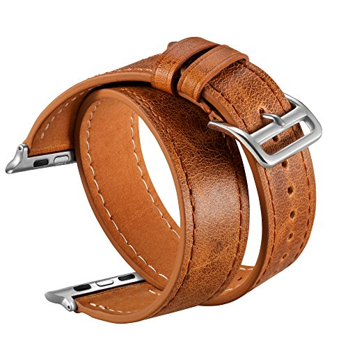 Apple Wrap (V-Moro Apple Watch Band 38mm iWatch Leather Band Vintage Crazy Horse Wrist Strap for Apple Watch Series 3 Series 1 Series 2, Sport, Hermes, Nike+, Edition Adults Men Women- Brown)
