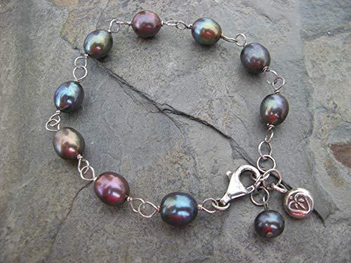 (Peackock Tones Freshwater Cultured Pearl Sterling Silver Bracelet Boho Artisan Jewelry)