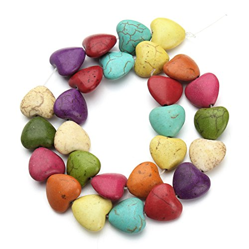 Linsoir Beads Colorful Turquoise Stone Heart Beads Design Women Girl Lady Spacer Bead Jewelry Making Supplier Approx.27pcs/strand - Gemstone Heart Beads
