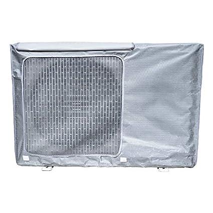 para Aire Acondicionado de Ventana Mr.You Funda Aire Acondicionado,Funda Aire Acondicionado Exterior Impermeable al Agua Gris Plateado,86x33x56cm