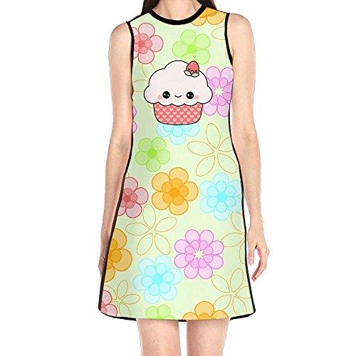 Mkajkkok Cute Strawberry Cupcake Women's Casual Wear and Sleeveless Dresses.]()