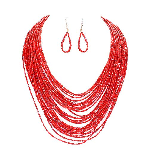 Uniklook Statement Layered Strands Colored Mini Seed Beads Beaded Chunky Wire Necklace Earrings Set Gift Bijoux (red) ()