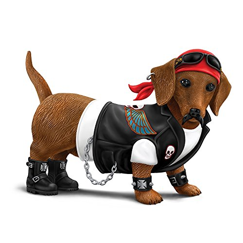 Figurine Dog Collectible (Cruiser Dachshund Collectible Figurine in Biker Gear:by The Hamilton Collection)