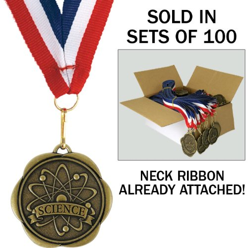 Set of 100 Award Medals with Neck Ribbons - Science by Jones School Supply Co., Inc.