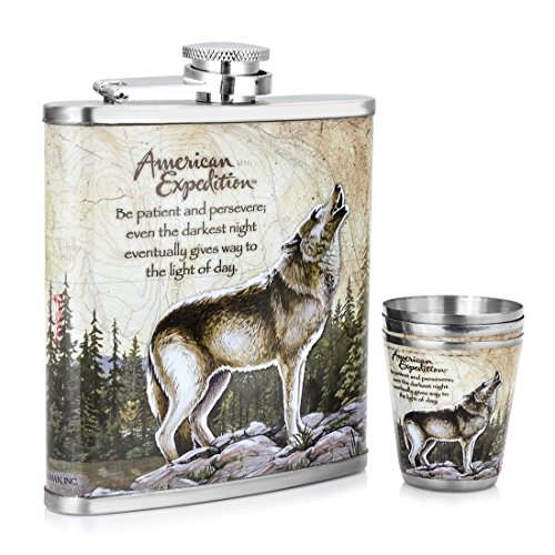 Shenglin Mini Wolf Forest Pattern Stainless Steel Hip Flask Set 7 Oz