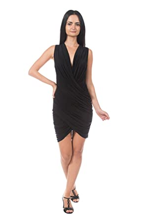 Womens Black Crossover Wrap Ruched Draped Grecian Goddess Cocktail