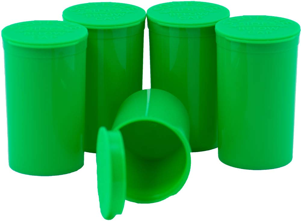 Pop Top Container/Vial (19 Dram, Green) (245 Pieces per Case) by Emerald Mountain Supplier (Available in (Green, Black, White, Clear) (13 Dram, 19 Dram, 30 Dram)) (Full Cases)