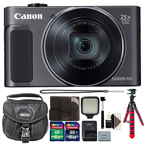 Canon PowerShot SX620 HS 20.2MP Digital Camera + 24GB Memory Card + Wallet + Video Light + Selfie Stick + Case + 3pc Cleaning Kit For Sale