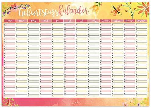 Geburtstagskalender mit Blumen-Motiv I DIN A3 I jahresunabhängig I Dauerkalender für Mädchen, Frauen, WG, die ganze Familie I dv_432