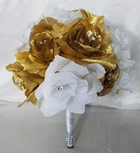 Whole Foods Wedding Bouquet: Amazon.com: Bronze Gold White Bridal Wedding Bouquet
