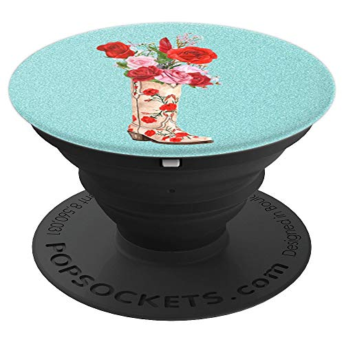 - Western Turquoise Country Themed Cowgirl Boots Rose Flowers - PopSockets Grip and Stand for Phones and Tablets