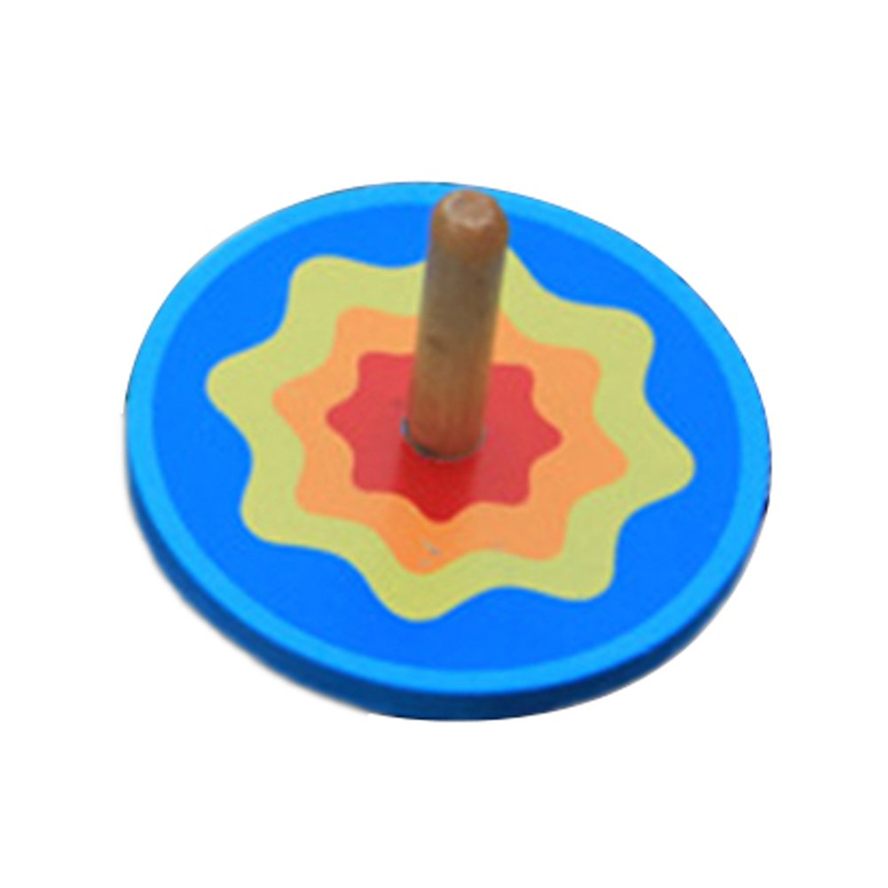 Hosaire 1x Kind Spielzeug Kreisel aus Holz Mode Farbige Drehen Holzspielzeug für Kinder,Alter:ab 3 Jahre alt (Blau)