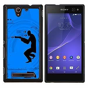 GIFT CHOICE / Teléfono Estuche protector Duro Cáscara Funda Cubierta Caso / Hard Case for Sony Xperia C3 // Shoot Gun Man //